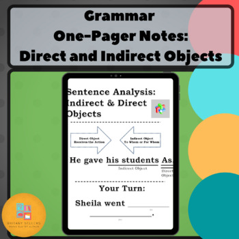 Grammar One-Pager: Direct and Indirect Objects