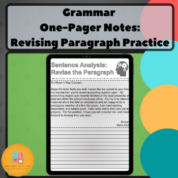 Grammar One-Pager: Revising Paragraph Practice