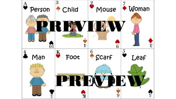 Grammar Pack: Plural Nouns & Verb Past Tense: Playing Cards
