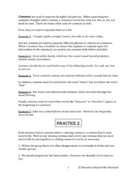 Grammar Packet: Commas, Semicolons and Apostrophes Explanation and Practice
