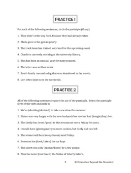 Grammar Packet: Participles Explanation and Practice