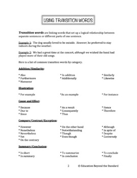 Grammar Packet: Transition Words Explanation and Practice