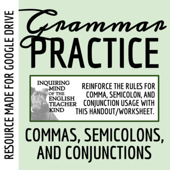 High School Grammar Packet: Using Commas, Conjunctions, and Semicolons