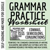 High School Grammar Packet: Using Commas, Conjunctions, an
