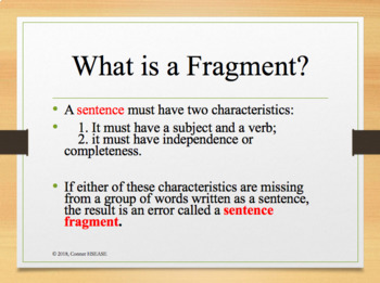 Grammar -Sentence Fragments PPT