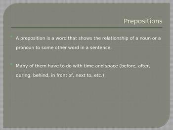 Grammar, Parts of Speech, Prepositions
