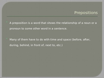 Grammar, Parts of Speech, Prepositions