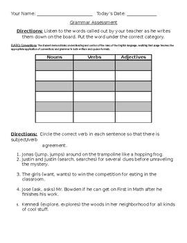 Grammar Parts of Speech Quiz