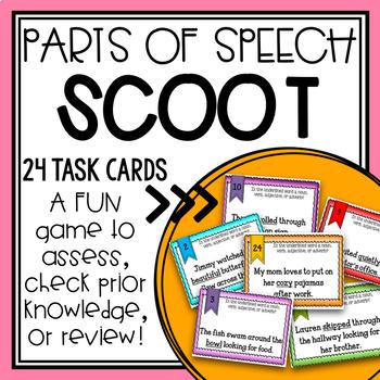 Grammar Parts of Speech Scoot/ Task Cards BUNDLE + Posters!