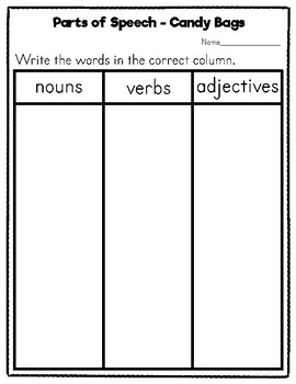 FREE Grammar Parts of Speech Sorting Activity