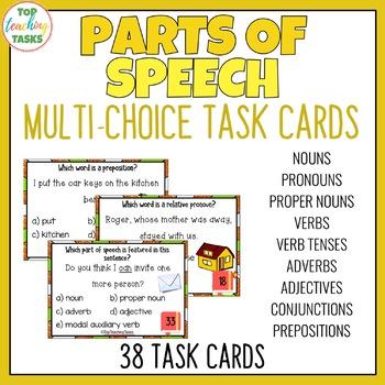 Parts of Speech Grammar Task Cards (Multi-Choice)
