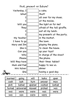 Grammar - Past, present of future cut and paste