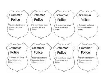 Grammar Police Student Badges