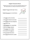 Grammar: Possessive Nouns Notes and Worksheets Pack