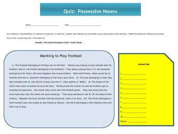 Grammar: Possessive Nouns Quiz