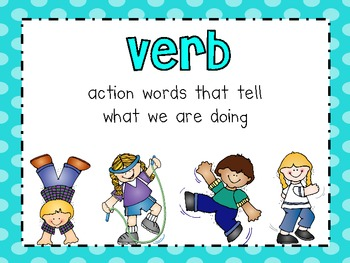 grammar poster set noun adjective and verb by live love