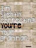 Funny Grammar Posters - 4 different backgrounds
