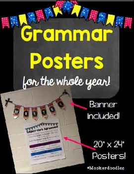 Grammar Posters for the WHOLE YEAR! AND a WRITE pencil Banner!