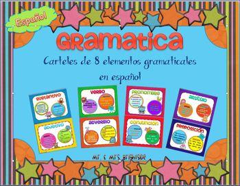 Grammar Posters in Spanish / Elementos Gramaticales