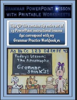 Grammar PowerPoints & Handouts-Complete Set of PPTs for Grammar Practice Wkbk #1