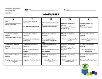 Grammar Practice Calendars -Five Month Package!