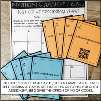 Grammar Practice - Independent & Dependent Clauses - Common Core Aligned