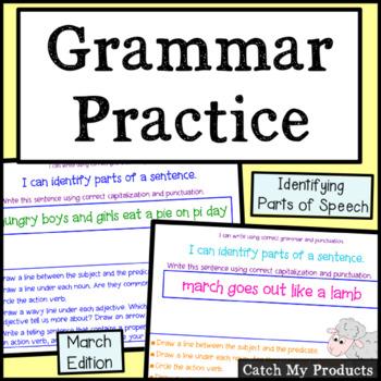 Grammar Practice: March Grammar Work for Promethean Board Use