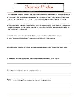 Grammar Practice Quiz/Packet