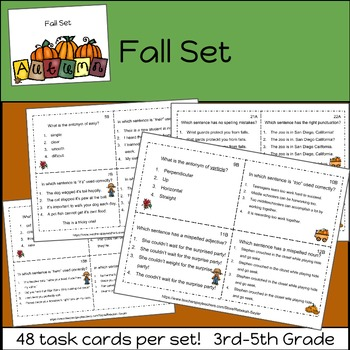Grammar Practice Task Cards: BUNDLE     3rd Grade-5th Grade