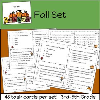 Grammar Practice Task Cards: BUNDLE     3rd Grade-5th Grade