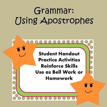 Grammar: Practice Using Apostrophes