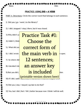 Using Did and a Verb in Simple Past Tense Sentences Grammar Practice