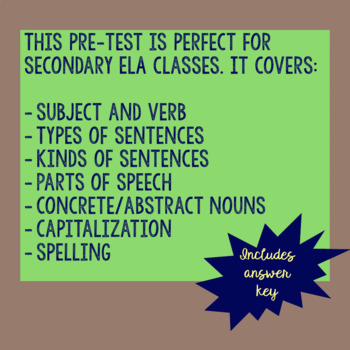 Grammar Pretest- Secondary ELAR
