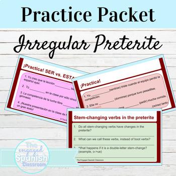 Spanish Irregular Preterite Practice Packet