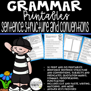 Grammar Printables Covering Sentence Structure: 30 Different Printables