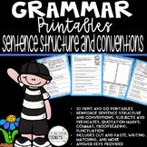 Grammar Worksheets - Covering Sentence Structure: 30 Different Printables