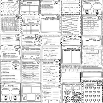 Grammar Worksheets Covering Parts of Speech - 30 Different Printables