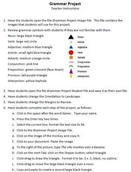 Grammar Project Technology Lesson Plan & Materials