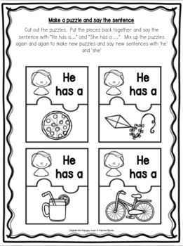 Grammar Program: He/She for speech and language therapy