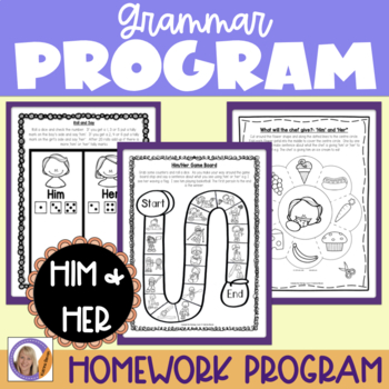 Grammar Program: Him/Her for speech and language therapy