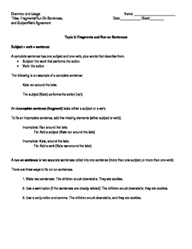 Grammar Program: Unit 1