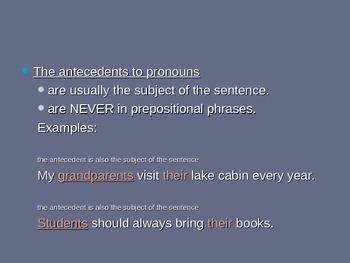 Grammar: Pronoun-Antecedent Agreement and Pronoun Reference PowerPoint