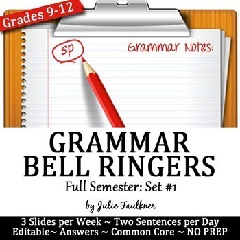 Grammar Bell Ringers, Proofreading, Daily Starters, ACT Pr