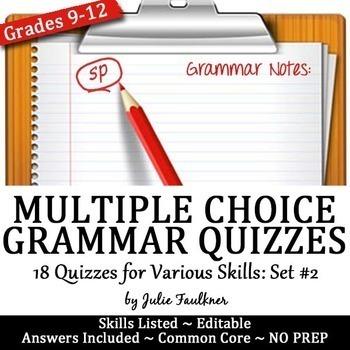 Grammar Quizzes, Multiple Choice, Proofreading, ACT Prep, VOL #2