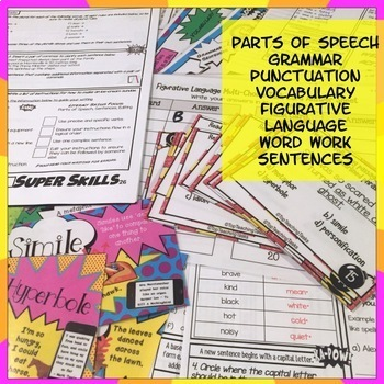 Grammar Punctuation Spelling Vocabulary Literacy Skills Activities Year 7 and 8