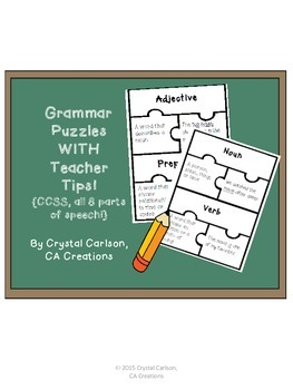 8 Parts of Speech Puzzle Activity-CCSS! {3 sets of activities and teacher tips}