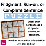 Grammar Printable Puzzle:  Fragments, Run-ons, Complete Se