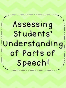 Parts of Speech Quiz Assessment
