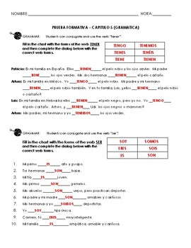 Grammar Quiz Chapter 5 (possession, ser and tener)