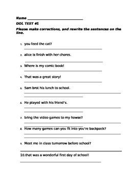 Grammar Quiz (DOL) Fourth Grade Wonders, Unit 1